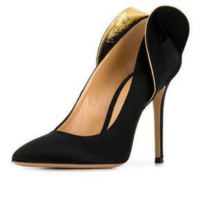 FSJ Black Retro Pointed Toe Satin High Heel Pump